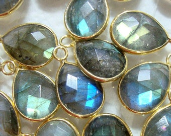 Natural Labradorite 15x40mm Rectangle Cabochon 925 Sterling Silver Plated Bezel Connector