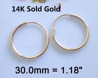 2 pcs 30mm Hoop 14K Yellow Solid Gold Endless Hoop 1.0mm wire EW-0156