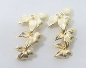 4 pc - 25x15mm - 3 Leaf Pendant Charm Dangle Connector, Gold - PC-0272