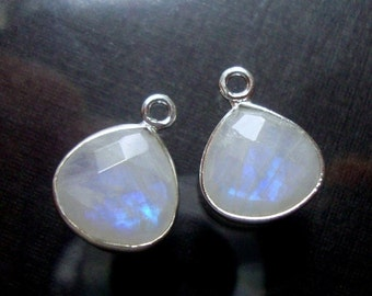 Vermeil Faceted Rainbow Moonstone Oval Pendant Charm with Small Round Cubic Zirconia Rim Design