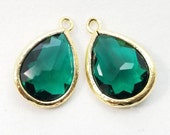 2 pcs, 16x11mm, Emerald Green Teardrop Pendant Charm Dangle, Gold Rim - PC-0232