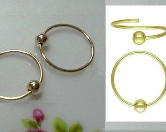 """1//2/"""" Goldtone Pack of 20 Earring Hoops Add A Bead Charm Holder 12mm"""