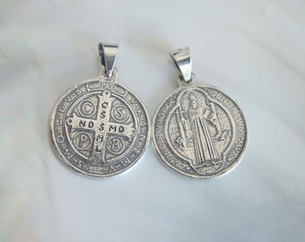 Rosa Mystica Sterling Silver St Benedict Medal Patron saint against temptation and evil