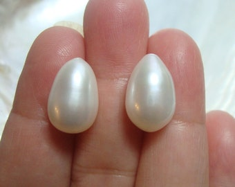 30/% off  8 pcs,9-10x7-8mm Freshwater Pearl Fresh Water Half Drilled Pearl Lustrous Gorgeous White Pearls Drop Shape
