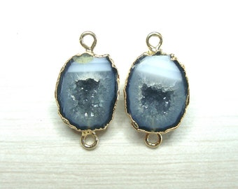 Half Geode Pendant with Electroplated 24k Gold Edge High Grade Mexican Geode S84B9-09