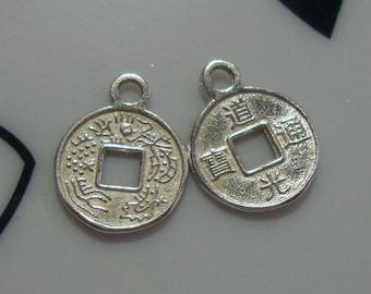 2x Anhänger Münze beidseitig antik silber 15mm Charm vielseitig verwendbar