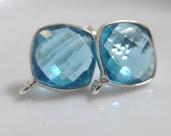 Swiss Blue Topaz Quartz Faceted 11mm Cushion Cut Solid Sterling Silver Bezel Rim Ear post, open loop, on sale