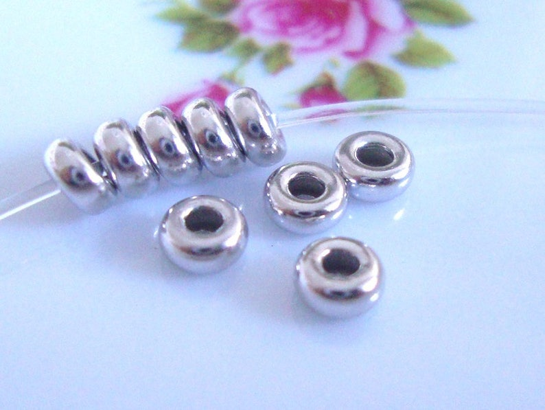 2mm hole 3.5x1.6mm 925 Sterling Rondelle bead Spacers,CC-0093 10 pcs