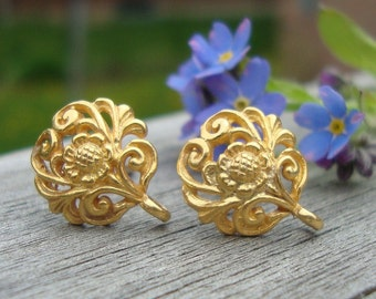3 pairs, 24k Vermeil over Sterling Silver Filigree Floral Ear Post Earrings With Closed Loop 12x10 mm, Ear Nuts Back Included, EP-0001