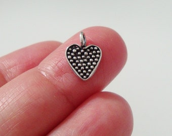 925 Sterling Silver Oxidized Pendant Charm, Pretty Little Dot Heart Charm, Handmade Findings, 11x9mm, 2 pcs - PC-0144