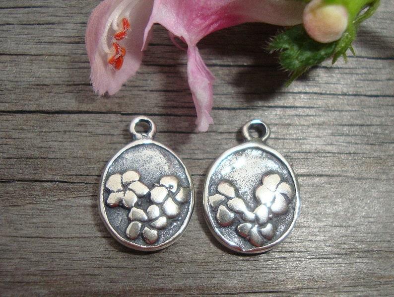 Oxidized,2 pcs Handmade Sterling silver Fern Leaf Motif Charm Pendant or Earring Drops 11.2x8mm double side,PC-0095