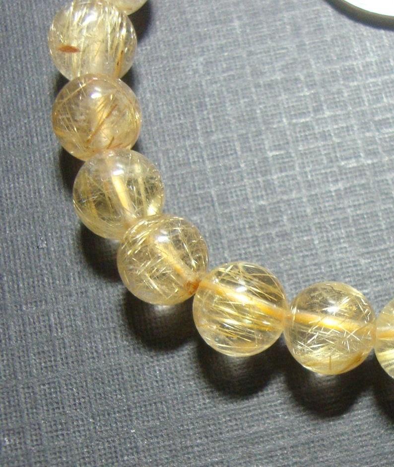 7-7.5mm Genuine Golden Rutilated Quartz Smooth Round beads 05 7.0 Strand