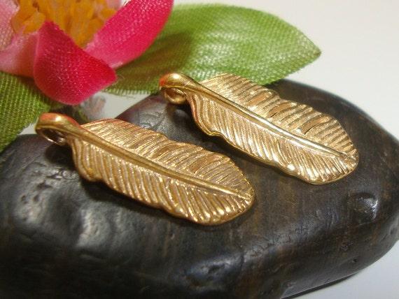 2 pcs, 16 5x6x1 5 mm, Bali Artisan, Gold VermeilFeather Pendant Charm, Leaf  Charm, earrings, dangles, PC-0261