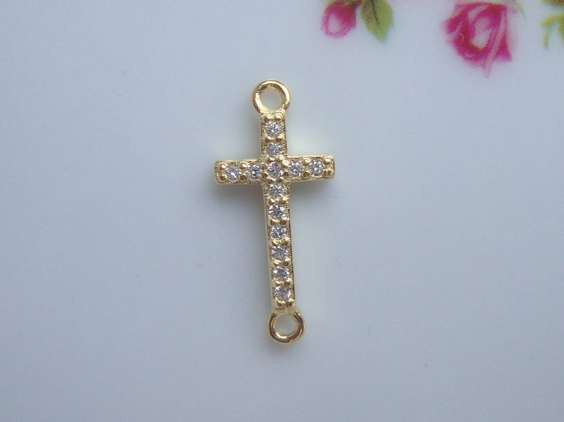 Sideway Cross 18K Gold over 925 Sterling Silver Diamond CZ Small Cross Connector Link 1 pc CC-0127 18x8mm