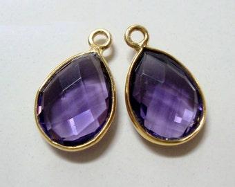 2 pcs, 16x10mm, Tear Drop Purple Amethyst quartz Bezel Gold over Sterling Silver Charm Pendant, February Birthstone, 02