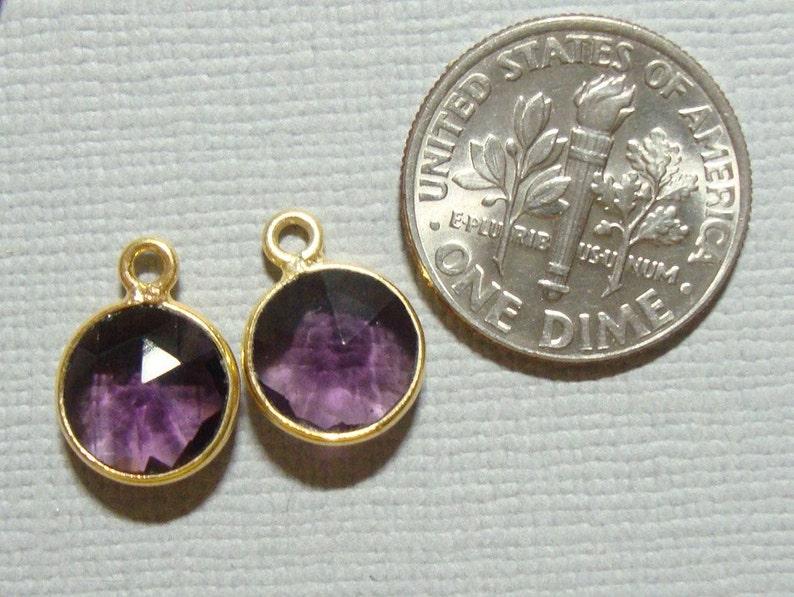 12x9mm,8mm stone 6 pcs Handmade Amethyst Quartz Gold Vermeil Sterling silver Bezel Rim Pendant Charm 2-Feb