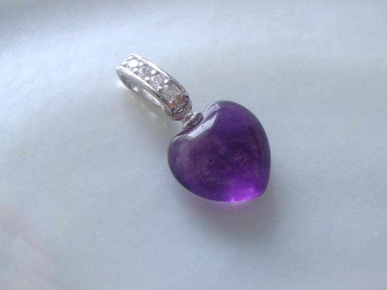 6aea605b140073 10mm Natural Royal Purple Amethyst 3D Heart Pendant Sterling | Etsy