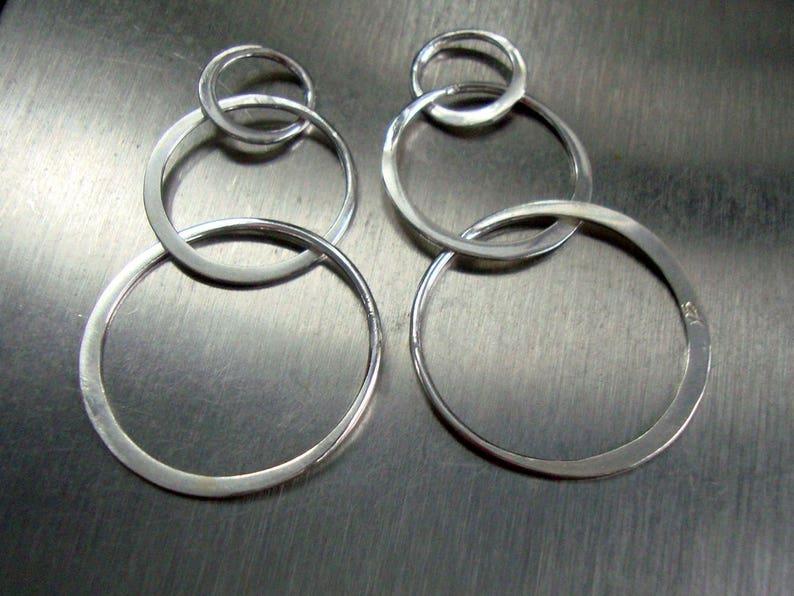 Past Present Future Half Hammered Triple circles Link Infinity L3720 925 Sterling Silver 3 Eternal Circles Bulk 6 pcs 37x20mm