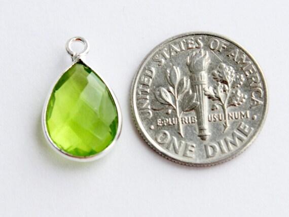 Sterling Silver -Faceted Coin Shape Peridot Quartz 2 Pcs Bezel Gem Links