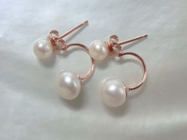 Small Cute Creamy White Real Natural Pearl Ear Jacket Earrings Sterling Silver Pearl Jacket Earring chic modern