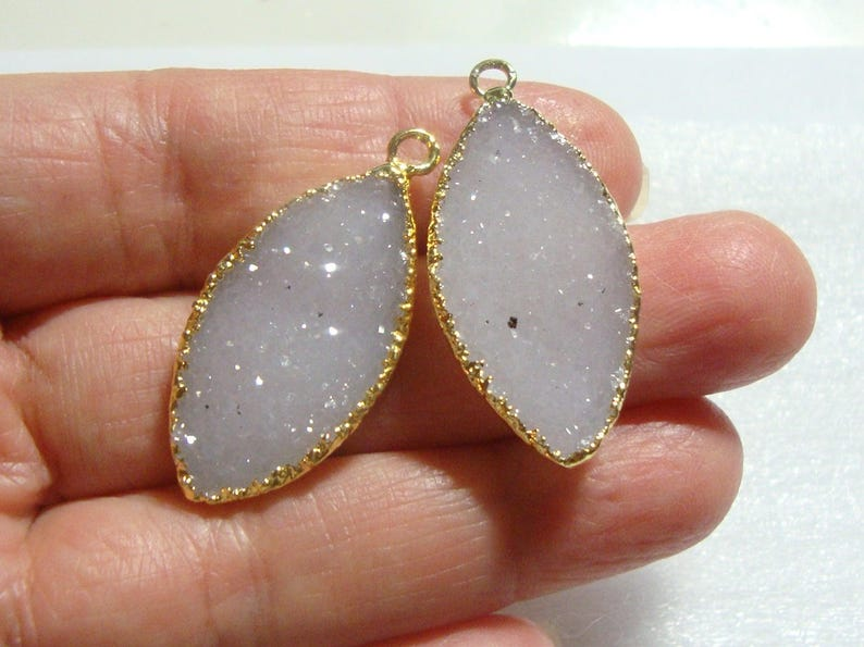 Natural Off White Agate Druzy Drusy 24K Gold Electroplated Pendant Pair Marquise Beautifu Leaf 17e sale Reduced from 39.10