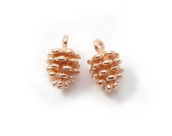 9x5mm, 2 pc - Pine Cone Dangle Charm Pendant, Rose Gold over 925 Sterling Silver, PC-0027