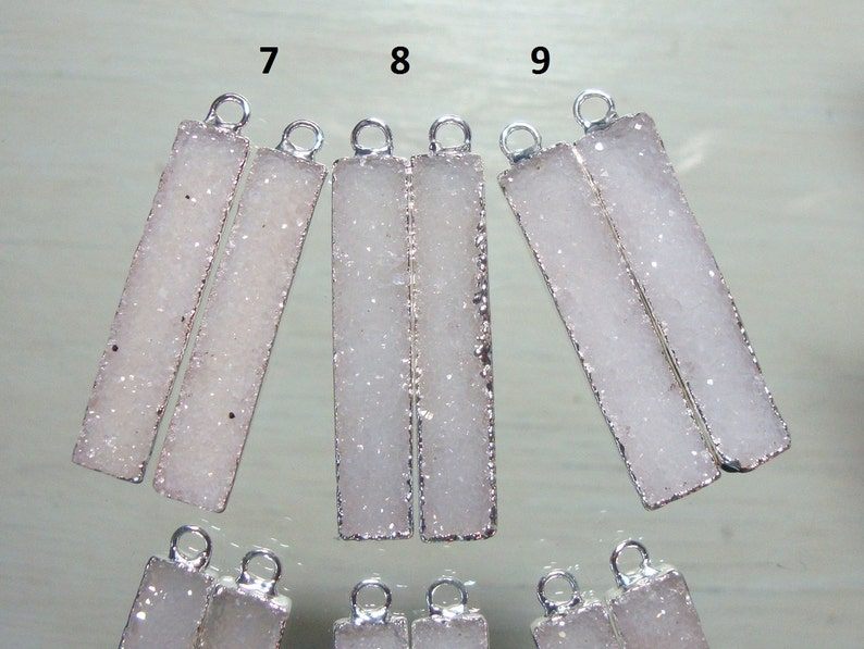 40x8mm Earring Pair 25/% sale s840 Natural White Agate Druzy Drusy Crystal Silver Edged Electroplated Bar Pendants