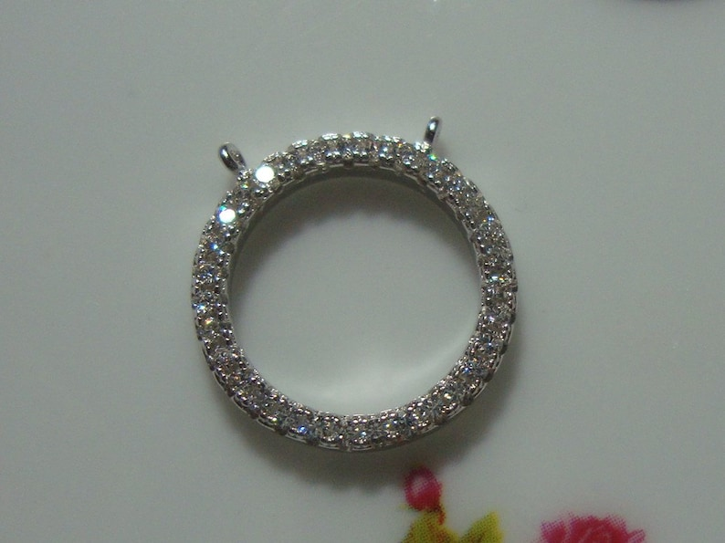 PC-0101 15 mm Sterling Silver Halo Circle Cz pendant connector charm choose your finish Fine mircropave setting