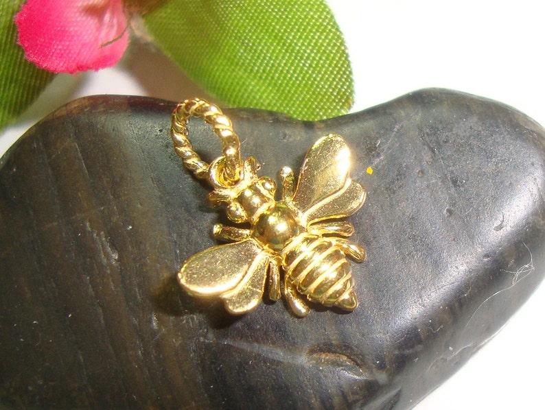 timeless cute 3 pcs PC-0002 15x13 mm 18K Gold over 925 Sterling Silver 3D Honeybee Charm lovely Honey Bee Charm