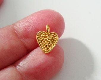 2 pcs, 11x9mmGold Vermeil 925 Sterling Silver Oxidized Pendant Charm, Pretty Little Dot Heart Charm, Handmade Findings, PC-0144