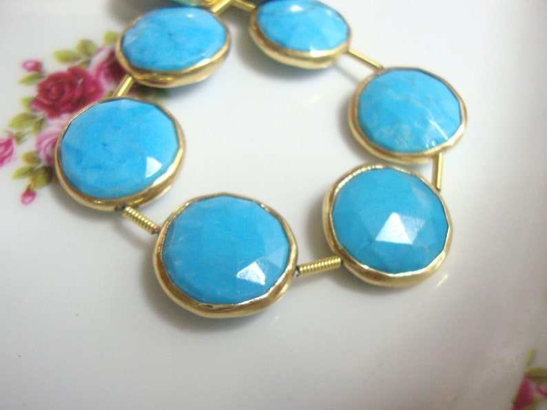 pendant 14-15mm connector Blue Turquoise Faceted Center Drilled Coin Gold Vermeil Bezel Rim 1 pc earrings