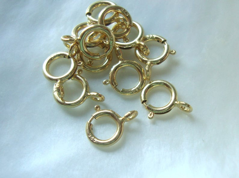 18k Gold plate 925 Sterling Silver Spring Clasp with CLOSED Ring 10 pcs 5.5mm