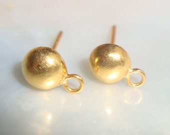 2 pcs, 19x9mm, 24k Gold Over Sterling Silver 6mm Solid Half Ball Saucer Ear Studs Post Finding,  EP-0004