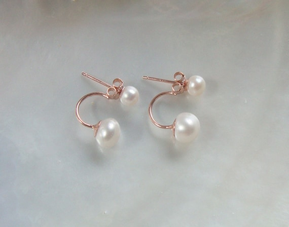 June Birthday 11-12mm pearl sterling silver Front to back earring,chic modern Double Sided Reversible Creamy White Natural Pearl Ear stud