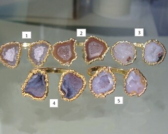 clearance sale, Natural Mexican Geode Halves Adjustable size ring, 24K Gold Electroplated, M4