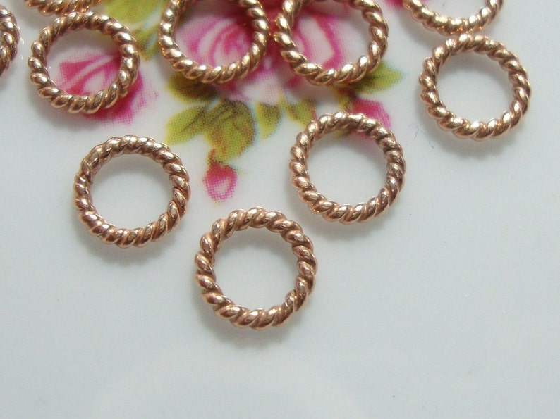 10 pcs Handmade Sterling Silver Rose Gold plated Twisted wire Closed Jump Ring Spacer 6mm 18ga gauge