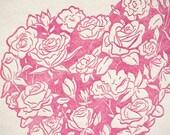 SALE - Letterpress Valentine card - Rose Heart - 60% off