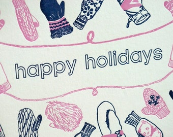 SALE - Letterpress Christmas Holiday Card - Mittens - 60% off