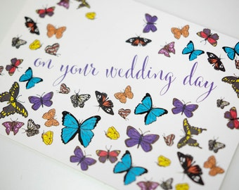 SALE - Wedding Engagement Congratulations greeting card - Butterfly All Aflutter - 50% off