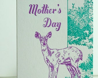 SALE- Letterpress Mother's Day Card - Deer Mom - 60% off