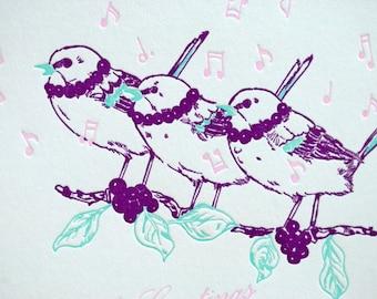 SALE - Letterpress Christmas Holiday Card - Chantillons- 60% off