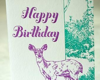 SALE Happy Birthday Letterpress card - Deer Birthday - 60% off