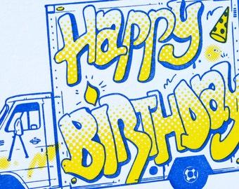 SALE - Happy Birthday Letterpress card - Birthday Graffiti Truck - 60% off