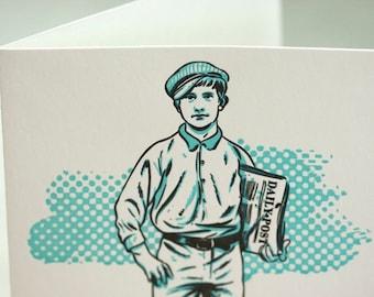 SALE - Letterpress Victorian Rascal Newsboy Art Print Greeting Card - 60% off