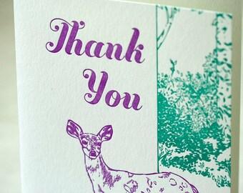 SALE - Thank You Letterpress card - Deer Thank You - 60% off