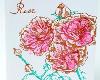 SALE - Letterpress Watercolour Floral card - Roses - 60% off