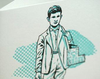 SALE - Letterpress Victorian Rascal Bootblack Art Print Greeting Card - 60% off