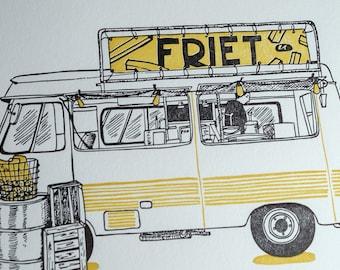 "Friet (fry) Truck Letterpress limited edition 5x7"" print"