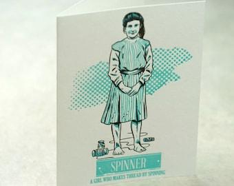 SALE - Letterpress Victorian Rascal Spinner Art Print Greeting Card - 60% off