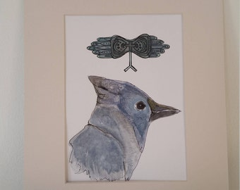 Original mixed media drawing of a blue jay